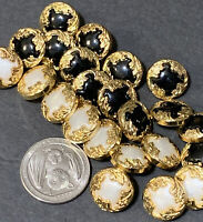 Vintage 23 Gold Tone Black And White Buttons Lot