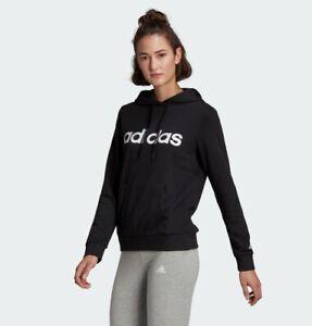 Adidas Damen Pullover Linear Hoodie    GL0635   in Schwarz mit weißem Logo