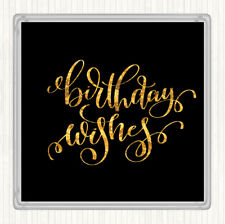 Black Gold Birthday Wishes Quote Drinks Mat Coaster