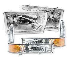 CLEAR CHROME HEADLIGHT & BUMPER LIGHT SET FOR FORD F250 F350 SUPERDUTY 1999-2004