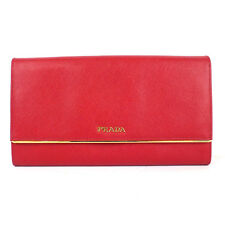100% Authentic Prada Saffiano Red Leather Metal Bar Flap Wallet Clutch Bag