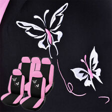 Hot Pink Car Seat Cover Protector Set Butterfly Embroidery Universal Women Pref