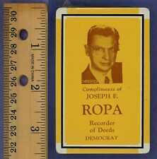 Chicago Democrat Joseph Ropa Playing Cards from 1954! Sealed, with US Tax Stamp!
