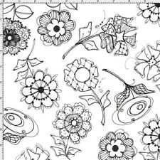 Loralie Fabric PAPER POSIES white with black flowers cotton quilt craft sew BTY