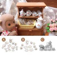 15Pcs 1:12 Dollhouse Miniature Tableware Porcelain Ceramic Coffee Tea Set Floral