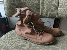 OTBT Clarksville Combat Moto Light Brown Leather Women's Boots Size 9.5M