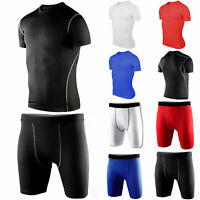 Men's Compression Thermal Tee Shirt Tops Shorts Pants Sports Base Layer Suits