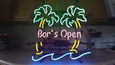 "NEON ""BARS OPEN""  SIGN W/2 PALM TREES 24"" x 24"" TROPICAL TIKI BEACH PATIO DECOR"