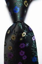 New Classic Floral Black Green Purple Blue JACQUARD WOVEN Silk Men's Tie Necktie