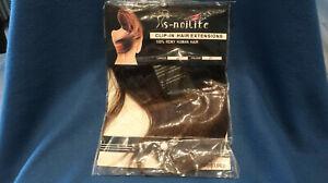 "S-noilite Hair Extension Clip In Hair Extensions remy Human Hair 10""  dark Brown"