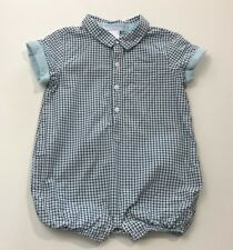 Janie And Jack Lion Cub Blue Plaid Short Romper Outfit Size 3-6 Months Euc