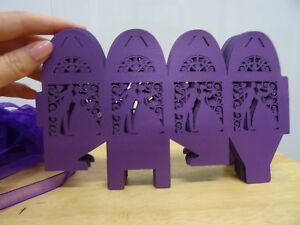 PURPLE FAVOUR BOXES FEATURING BRIDE AND GROOM 40 IN TOTAL