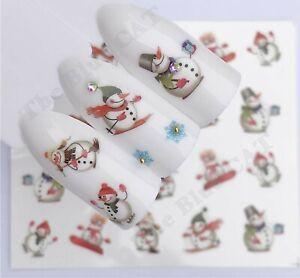 Nail Art Water Decals Transfers Stickers Christmas 2021 Santa, Snowman