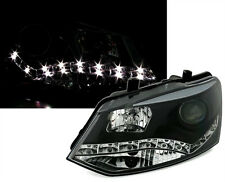 Headlights in black for VW POLO 6R from 09 with LED daytime running lights DRL