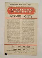Charlton Athletic v Stoke City Programme 24/10/59