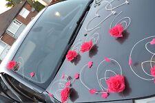 wedding car decoration ribbon bows prom limousine decorati  dark pink petals