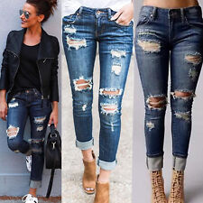 Damen Ripped Destroyed Stretch Jeans Hose Slim Skinny Denim Long Hosen Jeggings