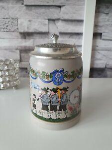 """Bierkrug mit Zinndeckel """"Brauerei zum Augustiner München"""" 0,5 L Sammlerkrug"""