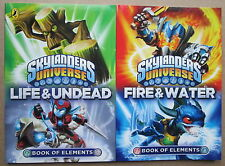 SKYLANDERS UNIVERSE-2 BOOKS-BOOK OF ELEMENTS-FIRE & WATER+LIFE AND UNDEAD