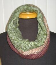 Winter Infinity Scarf Pullover Knit Single Loop Tube Infinity Hoodie Cowl Green
