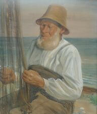 VILHELM EYVIND TILLY 1860-1935 FISCHER AM OSTSEESTRAND -PASTELL -TOP !!