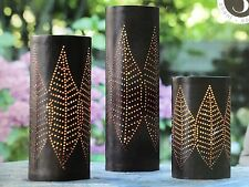 "Set of 3 Tabletop Lighted Pillars 17.9"" 14"" 10"" Inside Outside Garden with Timer"