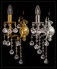 ART NOUVEAU WALL SCONCES, WALL LIGHTS REAL CRYSTAL BALLS GOLD OR SILVER POSSIBLE