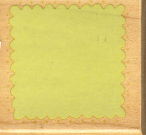 SCALLOP WITH DOT SQUARE RUBBER STAMPEDE WOOD BACKED RUBBER STAMP