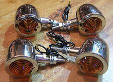 4 clignotant clignoteur moto chrome custom  bobber chopper bullet markerlight