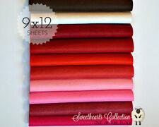 "Sweethearts Felt Fabric Collection Merino Wool Blend Felt, Ten 9"" X 12"" Sheets"