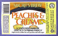 Short's Brew PEACHES & CREAM beer label MI 12oz STICKER