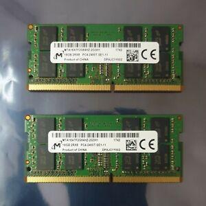 Micron PC4-19200 PC4 2400T 32GB 2X16GB DDR4 2RX8 2400MHz 260pin Laptop Memory