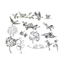 15 pcs Vintage Silver Color Metal Alloy Bird Tree Pendants Charms Randomly Send