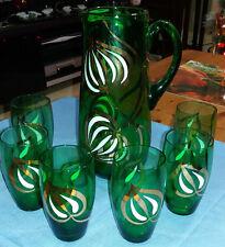 Splendido Vintage Vetro Verde Smeraldo 7 PCE Brocca Caraffa & Set di 6 Bicchieri