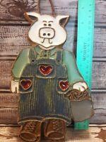 Vintage Grumpy Pig Folk Art Pottery / Clay Country Kitchen Wall Decor Farmer Hog