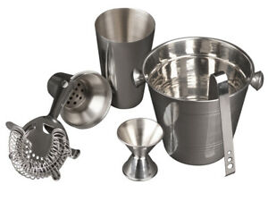 5 Pc Cocktail Shaker & Bar Accessories - Drink Mixer & Cocktail Set Barware