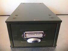 VINTAGE VETERAN SERIES RETRO INDUSTRIAL GREEN METAL FILING STORAGE BOX REF  2