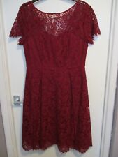 Half price! M&S lace cocktail dress, size 10. Satin edges/low back. Dark red.