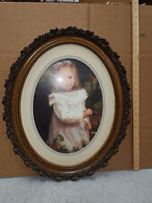 BLACKBERRY PICKING Irlam Briggs Oval Frame oil painting reproduction Little Girl