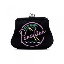 LULU Guinness Paradiso Palma Vacanza Estiva Nero Satinato Effetto portamonete!