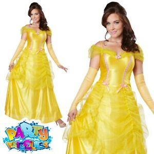 Adult Ladies Classic Belle Beauty Costume Book Day Week Women Fancy Dress Outfit