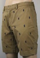 "Polo Ralph Lauren Khaki Tan Classic Fit 9"" Chino Shorts Multi Ponies NWT"