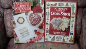 Two books of Cross Stitch Patterns by Jo Verso 1990's, Very good.