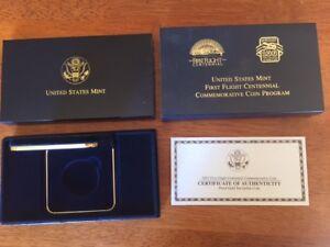 2001 First Flight 1-Coin Proof Gold Box + COA - NO COIN