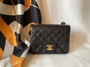 New Authentic CHANEL Black Gold Mini Square Caviar Leather Classic Fap Bag