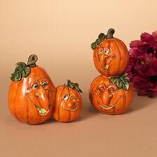 "2274820 6"" Pumpkin Patch Face Set/2 Halloween Table Figure Decoration Funny Man"