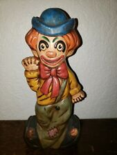 Vintage Clown Figurine Two Faced Happy Sad chalkware