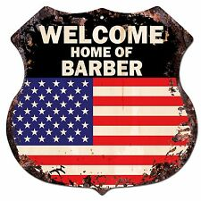 BP-0620 WELCOME HOME OF BARBER Family Name Shield Chic Sign Home Decor Gift