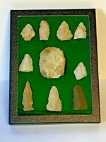 Archaic Native American Indian Arrowheads & Scraper Blade; Qty 10; Lot # 11