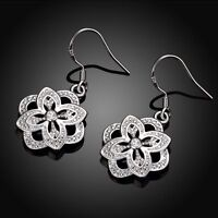 Fashion Lady Sterling Plated Flower Dangle Drop Wedding Hook Silver Earrings